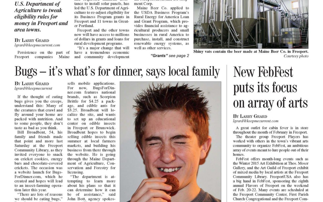 Bugs For Dinner – We Made The News!